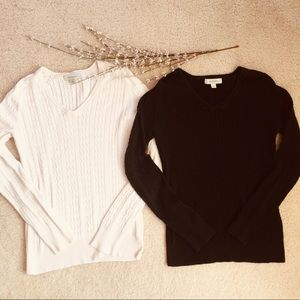 Sweaters - TWO 💯% COTTON V-NECK CABLE KNIT LIGHT SWEATERS